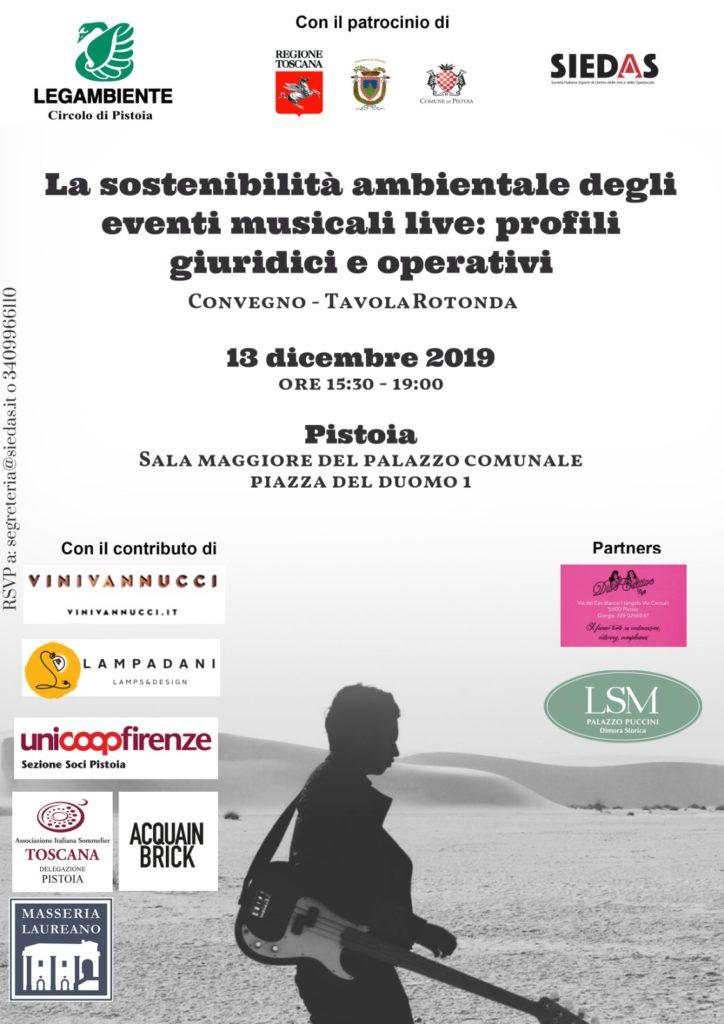 Locandina evento la sostenibilità ambientale degli eventi musicali.
